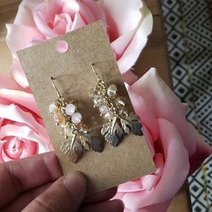 Gold Pink Iridescent Cluster Leaf Drop Earrings